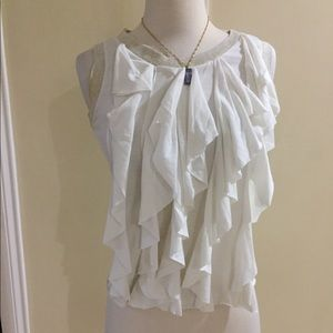 Tops - SALE 3 for $30 White Ruffle Front Top